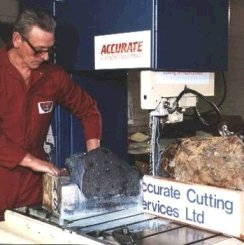Bandsawing meteorites - Nantan meteorite being sectioned